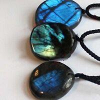 Natural Labradorite Pendant Crystal Charm Pendant Necklace Healing Stone