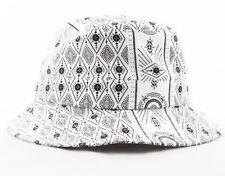 NWT Small / Medium HUF Black White Bandana Bucket Hat Mens Womens Boho Hippy