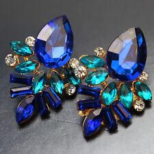 Elégant Chaîne Boucle d'Oreille Acrylique Strass Bleu Femme Fille pr Banquet