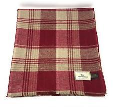 Pure Wool Tweed Blanket/Bedspread/Throw Pink Cream Checked Plaid