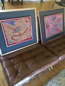 Primitive Mid Century Quilt Art From Panama Pair Vintage Frames