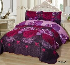 3-Pcs California King Quilted Reversible VELVET Bedspread Coverlet Set - PAMELA