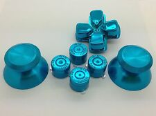 Metal Blue thumbsticks + Buttons and Chrome Blue D-pad for PS4 Controllers