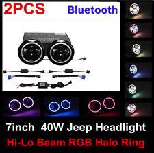 A Pair 7inch 40W RGB Halo Ring Bluetooth APP LED Headlight Fit Jeep Wrangler JK