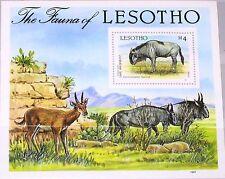 Lesotho 1987 bloque 42 S/s 592 local fauna flora animals animales streifengnu mnh