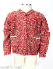 JACADI Girl's Api Feather Beige/ Red Thick Knit Cardigan Size 8 Years NWT $94