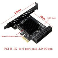 PCIe PCI Express to 6G SATA3.0 6-Port SATA III Expansion Controller Card Adapter