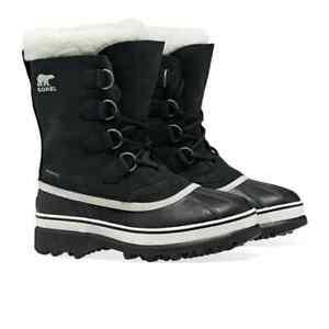 Sorel Womens Caribou Boots in Black Stone Waterproof Winter Snow Boots, Size 4