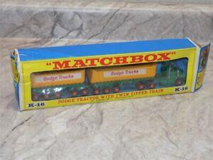 Vintage Kingsize Matchbox #K-16 Dodge Tractor w/Twin Tipper Train Truck IN BOX