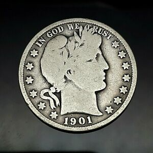 1901 BARBER SILVER HALF DOLLAR US COIN.