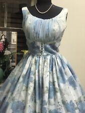 Vintage Original 1950s  Blue Rose Dress , New York Designer , Sz Small . Heaven!