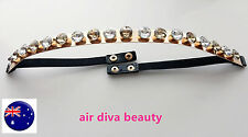 Lady Women Gold Metallic crystal bling Club Waist band elastic Metal Belt G030