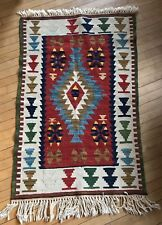 Turkish Wool Kilim Rug  Runner Mat Vibrant 30 by 45 inches