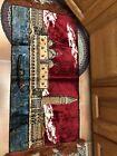"Vintage 19"" X 38"" Velvet/Velour tapestry wall hanging carpet Italy Venice Water"