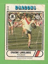 1976   ST GEORGE DRAGONS SCANLENS  RUGBY LEAGUE CARD #105 GRAEME LANGLANDS