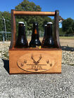 Monogrammed Wooden Beer Tote Personalized Wood Beer Caddy Gift for Men
