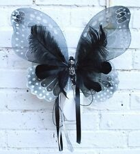 DELUXE SILVER SKULL STUDDED GOTH steamPUNK FAE FAIRY WINGS FESTIVAL HALLOWEEN