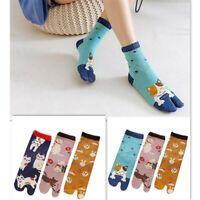 3pairs Women Japanese Cat Tabi Socks Kimono Clog Geta Flip Flop Split Toe Ankle