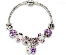 21cm Antique Beautiful Silver Plated Purple Heart European Charm Bracelet - Mum!