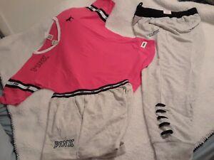 Victoria Secret Pink Retro Coral V Neck Tee & Classic Jogger & Shorts Set Medium