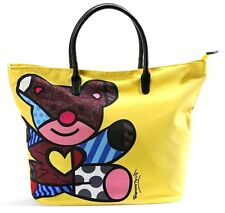 ROMERO BRITTO 'Teddy Bear' LARGE Zipper-Top Art Tote / Travel / Shopping Bag NEW