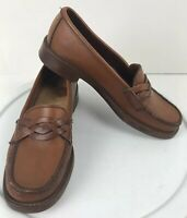 GH Bass Weejuns Leather Loafers Shoes Brown 5.5 M Braided Strap Slip On