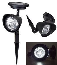 1~Solar Garden Lamp Spot Light Outdoor Lawn Landscape Path 4-LED Spotlight Black