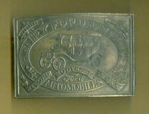 Vintage SOLID BRASS Lewis Buckles CHICAGO Ford MODEL T Belt Buckle