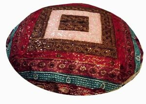 "40"" BROWN ANTIQUE SARI ART DÉCOR BEADED FLOOR THROW BED CUSHION PILLOW COVER IND"