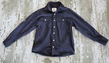 PD&C by Paper Denim and Cloth Long Sleeve Navy Blue Button Front Shirt School 8