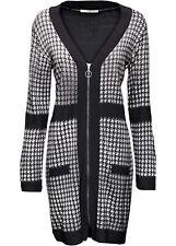 Strickkleid mit Reißverschluss Gr. 52 Weiß Schwarz Langarm Strick-Dress Neu*