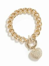 GUESS Gold & Rhinestone Womens Bling Heart Chunky Bracelet Jewelry NEW WITH TAGS