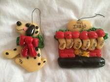 2 Salt Dough Ornaments Stocking on a Fireplace, and Dalmatian Dog