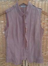 LINEA Petite 6 Dusky Pink Blouse Shirt Top 100% Silk Hook Eye Front Sleeveless