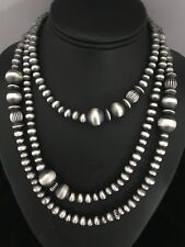 Native American Sterling Silver 7 mm Navajo Pearls Bead Necklace  50 Inch