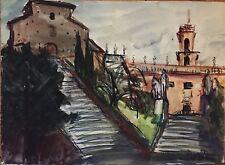 Revers Simone gouache encre aquarelle signée Rome 1956