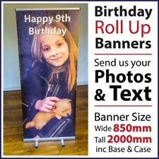 Birthday / Celebration Roll Up / Pop Up Banner with Stand & Base.  Free UK Post