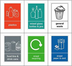 Pack of 6 Recycling Bin Sign / Stickers Self adhesive vinyl stickers A6 V1082