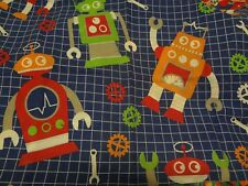 Gorgeous LARGE ROBOT Themed Fabric Remnant (70cm x 49cm)