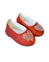 Red Heart Flats for Wellie Wisher Dolls 14.5 Inch Doll Shoes Glitter Girls