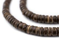 Chocolate Disk Coconut Shell Beads 8mm Brown Wood 15 Inch Strand