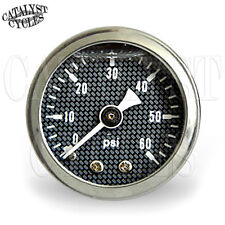"""60 PSI Oil Pressure Gauge Carbon Fiber Style with 1/8"""" NPT Male Fitting"""