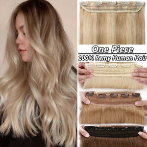 BIG SALE One Piece Clip in 100% Human Hair Extensions THICK 100G 4/3 Full Head