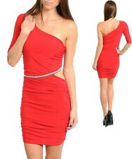 Sz 10 12 Red One Shoulder Bodycon Party Dance Cocktail Club Slim Fit SexyDress
