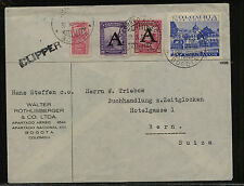 Colombia  C182,C189 on clipper cover to Switzerland            KL0814