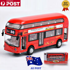 Sound and light Metal Double-Decker Tour City Bus Red Pull Back Car Kid Toy NW