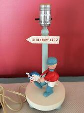 Vintage Child's Baby Boy Nursery Rhyme Lamp Banbury Cross Wooden Hobby Horse