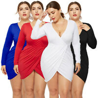 Plus Size Women V-neck Long Sleeve Dress Casual Pleated Bodycon Party Mini Dress
