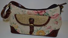 New w/ Tags Naturalizer Purse, Rosebud Print, Canvas and Brown Leather