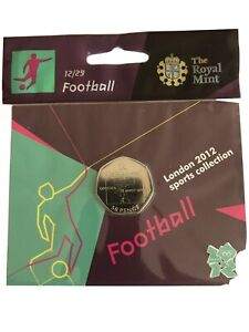 London 2012 Olympic FOOTBALL 50p coin brand new uncirculated sealed .mint